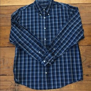 BASIC EDITIONS BLUE PLAID BUTTON DOWN SHIRT